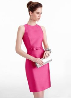 Sheath/Column Scoop Neck Knee-Length Satin Evening Dress With Bow(s)