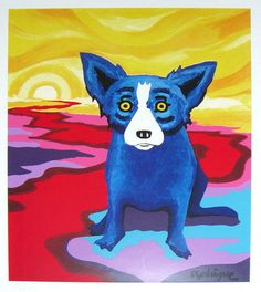 "Animal paintings inspired by the ""Blue Dog"" artist George Rodrigue Blue Dog Art, Blue Art, Blue Dog Painting, Buffalo Painting, Dog Day Afternoon, Louisiana Art, Dog Artist, Dog Cafe, School Art Projects"