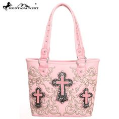 Montana West Western Spiritual Collection 3 Crosses Tote Handbag