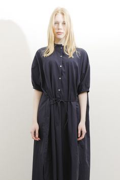 CHRISTOPHE LEMAIRE / D02W-CW06 / MAXI SHIRT DRESS / MIDNIGHT BLUE