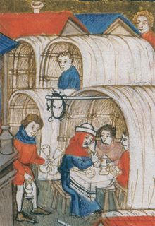 Manuscript illustration of a medieval marketplace fair