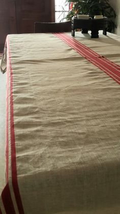 Linen tablecloth long natural with red stripe $95