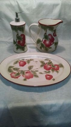 Apple Set Tea Pitcher Soap Dispenser Serving Tray White Red China
