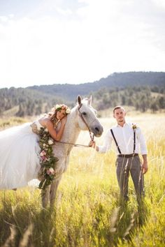 bride and groom with horse | colorado wedding styled shoot | Horse + Flower Crown Styled Shoot | COUTUREcolorado WEDDING: colorado wedding blog + resource guide