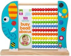 Busy Bead Abacus Elephant - A classic colourful abacus shaped as a friendly wooden elephant with 100 counting beads and 3 colour Holiday Gift Guide, Holiday Gifts, Tactile Stimulation, Wooden Elephant, Alex Toys, Science Toys, Developmental Toys, Baby Development, Learning Toys