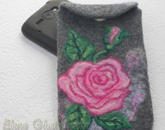 Sale Felted Phone Case READY TO SHIP Felt iPhone Cover Phone Pouch Felt Phone Sleeve Handmade Case Felted Bag Rose Gift for her