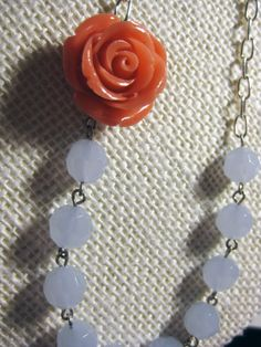 Asymmetrical Coral Rose and Periwinkle Czech Glass by SoCoDivka, $25.00