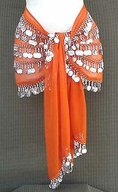 Belly Dance Orange Hip Scarf 5 Line with Beads and Coins