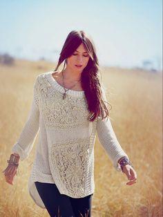 Free People Fp New Romantics Reflexiones en Pullover Crochet en White (helado nieve)
