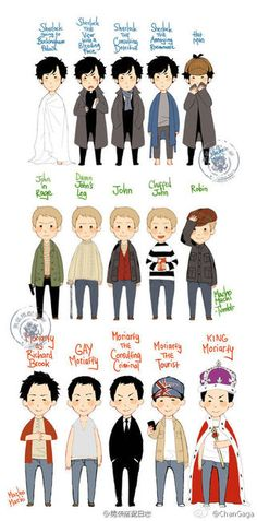 The many faces of Sherlock, John Watson, and Moriarty