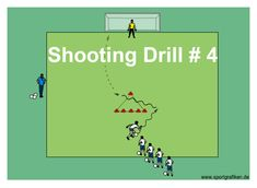 Coaching these drills will enhance your players' ability to beat the goalie from many different spots. Shooting technique made fun and easy to learn. Drill D. Basketball Shooting Drills, Soccer Training Drills, Soccer Drills For Kids, Basketball Academy, Football Drills, Basketball Workouts, Soccer Practice, Basketball Goals, Soccer Skills