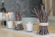 7-inch twigs are bundled, tied with twine and mixed with votive candles to create this quick and inexpensive look.