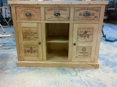 Sideboard storage unit made with wine boxes with two cupboards and fixed shelf