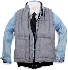 Layers upon layers of yes. Cotton button-down. Woven cardigan. Denim jacket. Wool puffer vest.