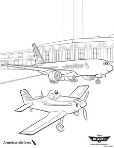 """Planes"" coloring sheet from American Airlines"