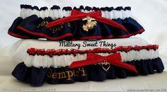 Marines Semper Fi Dress Blues Garter Set by MilitarySweetThings
