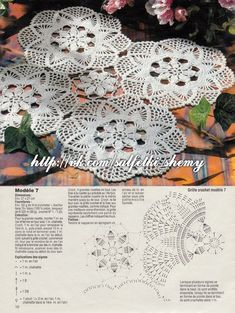 This Pin was discovered by Ron Crochet Mat, Crochet Dollies, Crochet Lace Edging, Crochet Square Patterns, Crochet Doily Patterns, Crochet Diagram, Crochet Books, Crochet Round, Crochet Home