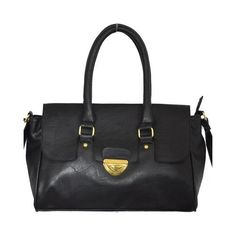 Minerva Collection Large Fashion Shoulder Handbag Black