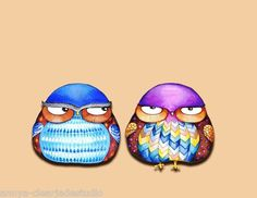 Cute Funny Grumpy Owl Illustration Painting Angry Bird Chevron Pattern Wall Art | eBay
