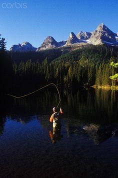 Fly Fishing on Island Lake, British Columbia, Canada.