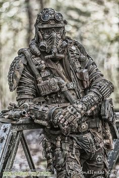 Post Apocalyptic costume. Full loadout for Airsoft LARP. SALVAGED Ware enquiries welcome @ www.markcordory.com Photograph courtesy & © Roy Smallpage