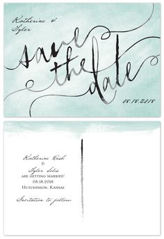 """The look of hand painted #watercolor lends an #artistic quality to these save the date #postcards. The words """"Save the Date"""" are printed in black against your choice of background color on the front. @annsbargains"""