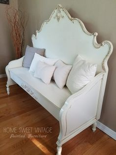 Shabby chic bench created from two vintage headboards. Painted in General Finishes antique white milk paint and glazed in GF van dyke brown glaze. Refurbished Furniture, Repurposed Furniture, Shabby Chic Furniture, Painted Furniture, Bed Frame Bench, Headboard Benches, Headboard Makeover, Furniture Makeover, Furniture Projects