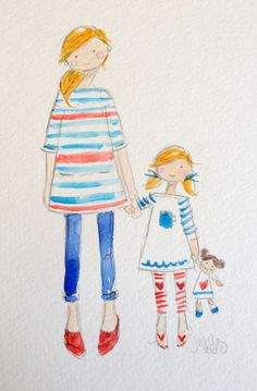 custom mother/daughter watercolor - these are adorable and I want one!