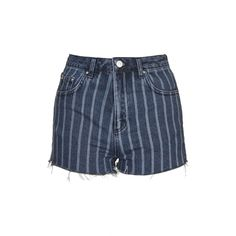 TopShop Moto Laser Stripe Mom Short (170 BRL) ❤ liked on Polyvore featuring shorts, mid stone, short shorts, topshop shorts, high rise shorts, stripe shorts and highwaisted shorts