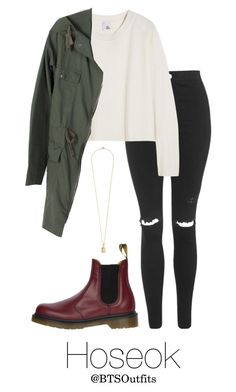 """""""I NEED U Inspired: Hoseok"""" by btsoutfits ❤ liked on Polyvore featuring Topshop, Iris & Ink, Dr. Martens and Vanities"""