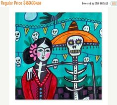 38% Off Today- Day of the Dead Shower Curtains - Mexican Folk Art Frida Kahlo by Heather Galler Shower Curtain for Adult Bathroom (HG625)