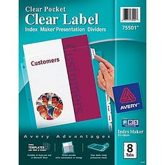 Avery® Index Maker® Clear Pocket Clear Label Tab Dividers, 8-Tab, Clear, 1 Set/Pack--(NOT unpunched)