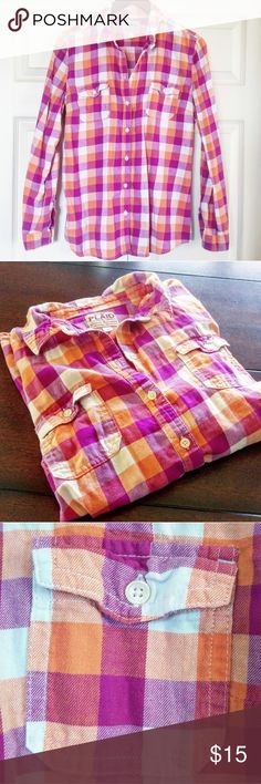 Purple & Orange Plaid Shirt 💜🔶 🍍🍍🍍•reasonable offers welcome•🍍🍍🍍 🍍•check out my closet to bundle and save!•🍍  Orange and purple plaid button up shirt Gently used Old Navy Tops Button Down Shirts