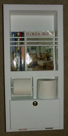 In The Wall Magazine Rack/Toilet Paper Holder Plus Storage Cubby