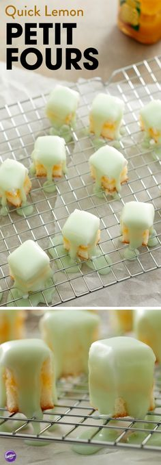 A tasty treat for spring and summer celebrations, these Quick Lemon Petit Fours are the perfect sweet to go alongside a cup of warm tea. Filled with lemon curd and topped with quick pour fondant, these little mini cakes are great for a crowd or party and make wonderful favors for wedding and baby showers. Use our wide variety of icing colors to tint your pourable fondant in whatever shade you'd like and have fun making these little petit fours!