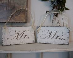 Chair signs: Light colored acrylic paint, Dark colored acrylic paint, Crackle medium, Paint brushes, Twine, wooden plaque, template/stencil