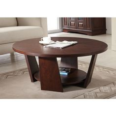Furniture of America 'Amber' Round Vintage Walnut Coffee Table | Overstock.com Shopping - Great Deals on Furniture of America Coffee, Sofa & End Tables