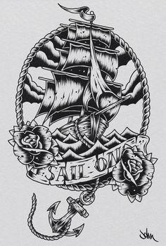 ship tattoo flash | frame tattoo # tattoo drawing # tattoo design