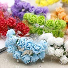 12 unids/lote MIni Regalo de San Valentín de la Sede Artificial de Rose Cordón de La Flor Del partido decoración de la boda celebración ramo de Flores de espuma para el coche
