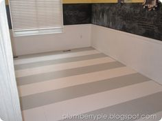 Gray + White Striped Painted Subfloor:  PLUMBERRY PIE