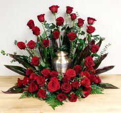 Heavens Majesty Red Rose Urn Arrangement