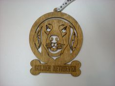 Golden Retriever wood Dog ornament with paw print by GiftWorks  buy now for $8.95 with FREE SHIPPING for the holidays!