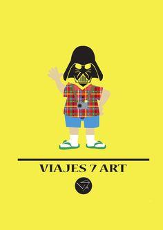 Darth Vader turista, trabajo de creación de póster, logo i de una empresa de viajes (viajes 7 art)