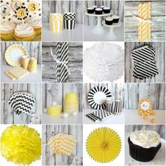 Black, Yellow, White, and Gray color scheme for Bee Party