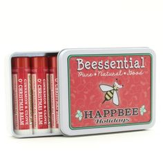 Now you can make up your own Custom  Five-Pack of Lip Balms.  Chose one flavor, or go crazy and chose five different flavors for those days when you need to change things up. Beessential's Pick Your Own Lip Balm Gift Tin is the perfect present for friends, family, teachers, the babysitter or just bee-u-tiful you!
