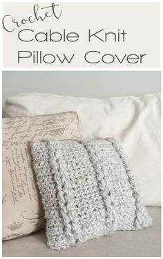 crochet cable knit pillow cover - free crochet pattern