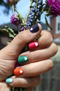 Multicolor with White Hearts Nail Design | BeautyTipsnTricks.com