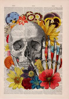 Vintage Book Print - Skull flower collage Print on Vintage Book. $7.99, via Etsy.