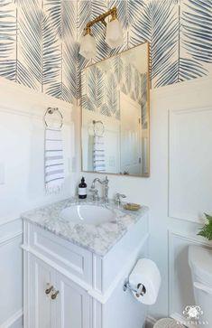 Bathroom Design & Decor Ideas Modern Coastal Powder Room Design and Small Bathroom Decor Ideas Separ Coastal Bathroom Decor, Bathroom Interior, Modern Bathroom, Small Bathroom With Wallpaper, Minimalist Bathroom, Contemporary Bathrooms, Dream Bathrooms, Amazing Bathrooms, Half Bathrooms