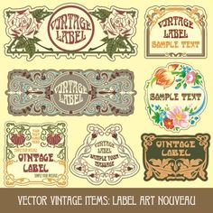 Vintage Label art design vector set 05